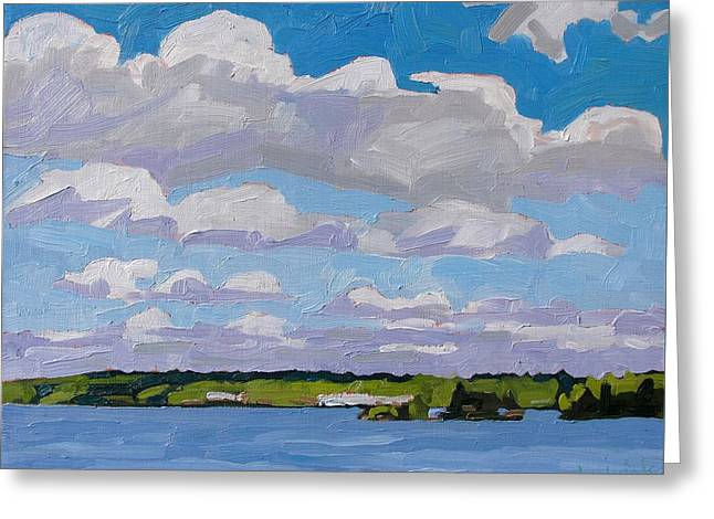 Canoe Greeting Cards - Cumulus Street on Little Rideau Lake Greeting Card by Phil Chadwick