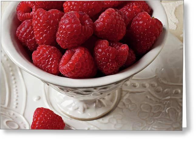 Cup full of raspberries  Greeting Card by Garry Gay