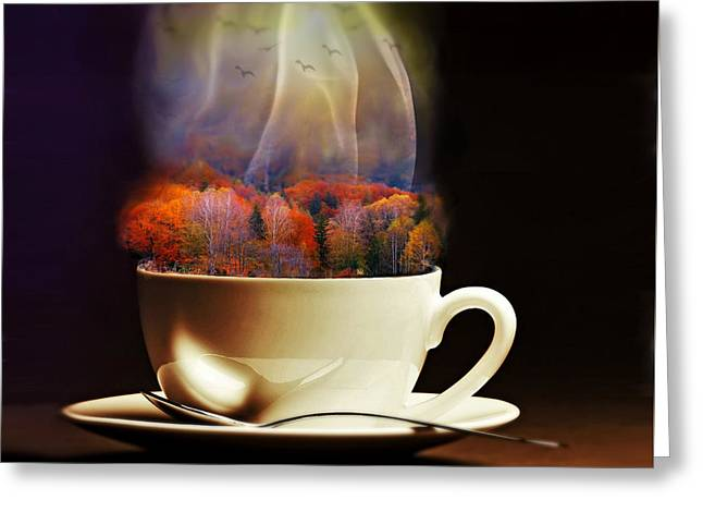 Reds Of Autumn Mixed Media Greeting Cards - Cup of Autumn Greeting Card by Lilia D