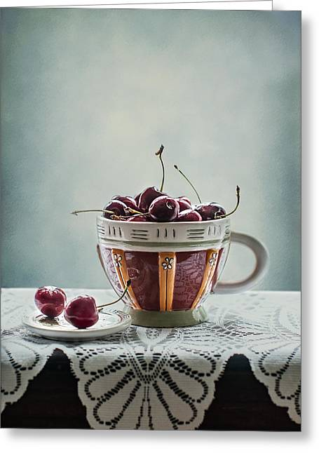 Cloth Greeting Cards - Cup of Cherries Greeting Card by Maggie Terlecki