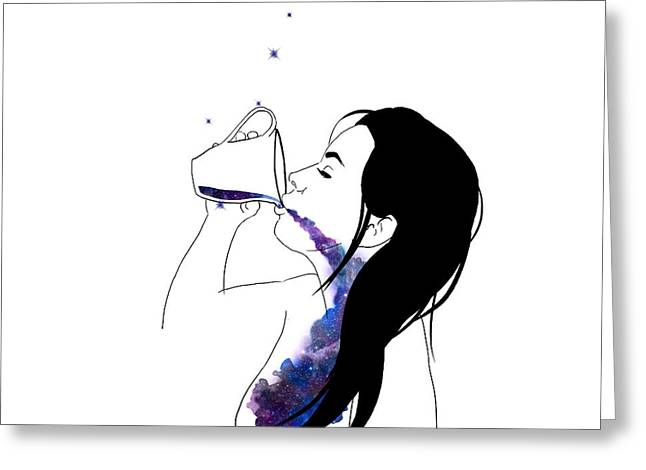Constellations Greeting Cards - Cup of Galaxy Greeting Card by Lauren Heller