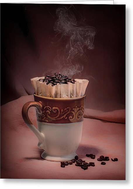 Steaming Greeting Cards - Cup of Hot Coffee Greeting Card by Tom Mc Nemar