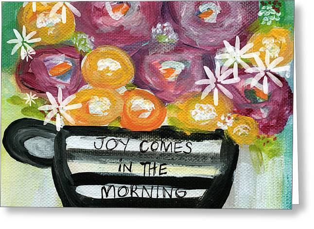 Cup Greeting Cards - Cup Of Joy 2- Contemporary Floral Painting Greeting Card by Linda Woods