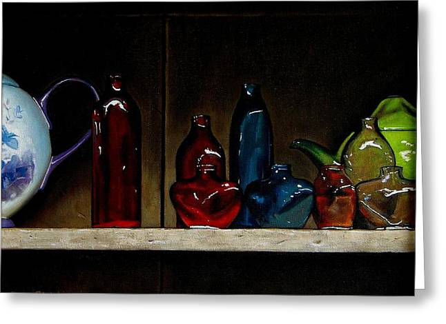 Cupboard Bottles Greeting Card by Doug Strickland