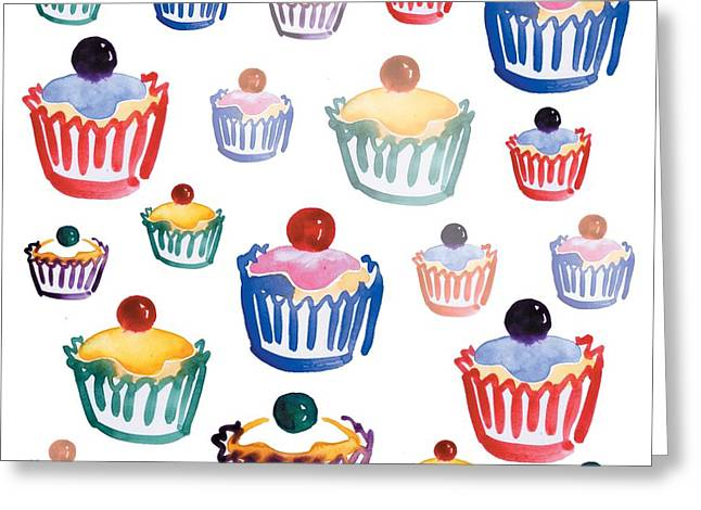 Restaurant On Top Greeting Cards - Cupcake Crazy Greeting Card by Sarah Hough