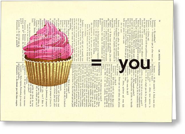 Pink Cupcake Equals You Print On Dictionary Paper Greeting Card by Madame Memento
