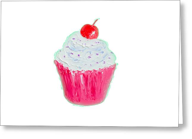 Kitchen Photos Paintings Greeting Cards - Cupcake painting Greeting Card by Jan Matson