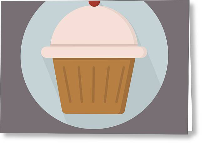 Cupcake Poster Print - Will Work For Cupcakes Greeting Card by Beautify My Walls