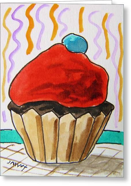 Aceo Original Drawings Greeting Cards - Cupcake-Red Greeting Card by John  Williams