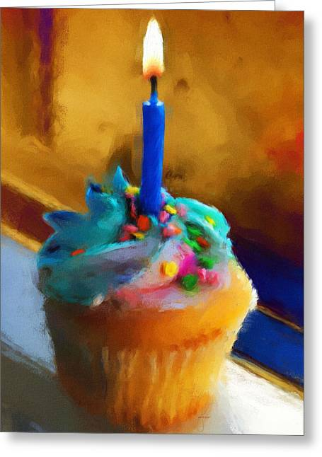 Cupcakes Greeting Cards - Cupcake With Candle Greeting Card by Jai Johnson