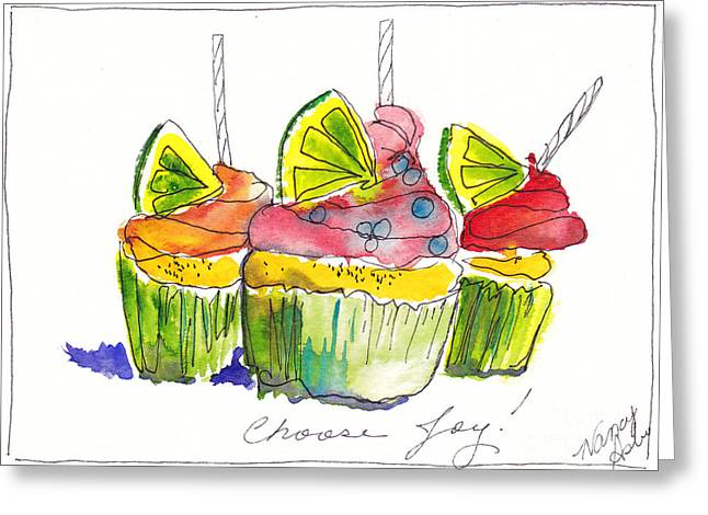 Choosing Mixed Media Greeting Cards - Cupcake With Limes Greeting Card by Michele Hollister - for Nancy Asbell