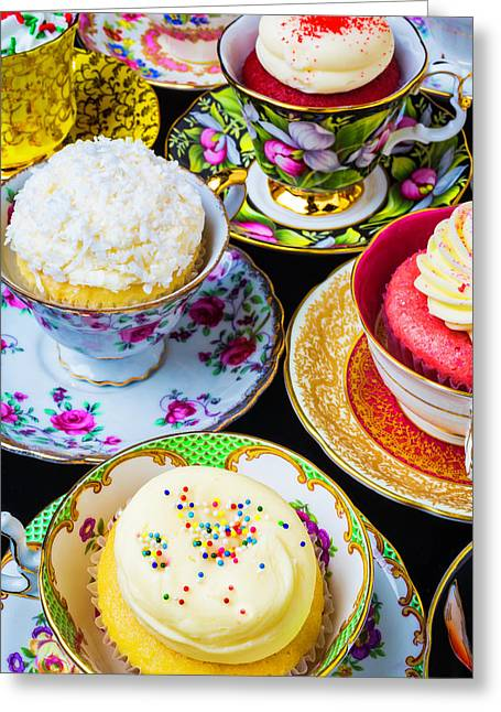 Cupcakes In Tea Cups Greeting Card by Garry Gay