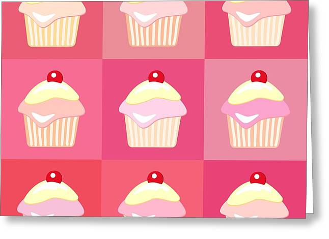 Invitation Greeting Cards - Cupcakes pop art  Greeting Card by Jane Rix
