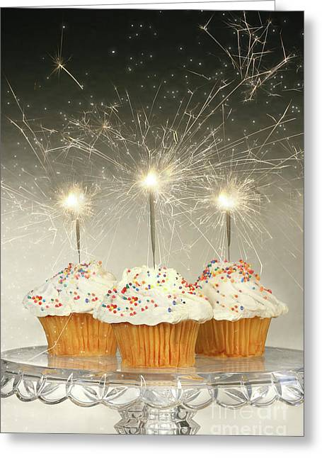 Snacking Greeting Cards - Cupcakes with sparklers Greeting Card by Sandra Cunningham