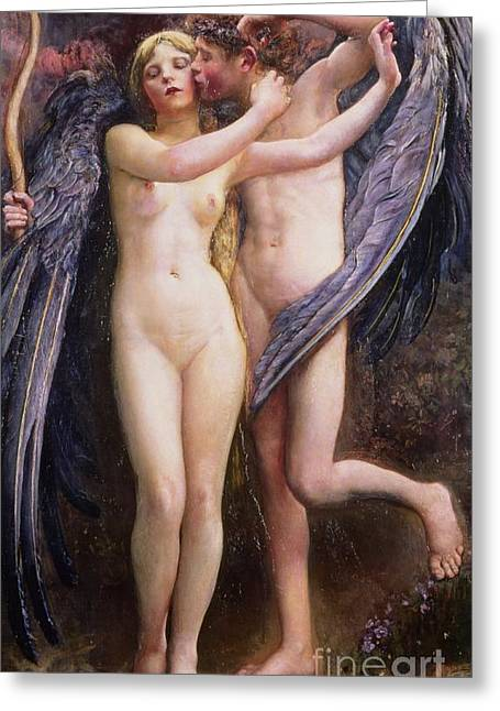 Cupid Greeting Cards - Cupid and Psyche Greeting Card by Annie Louisa Swynnerton