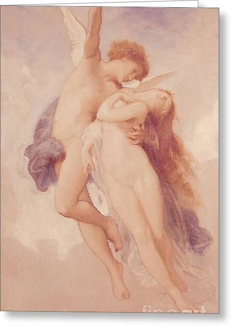 Flying Angel Greeting Cards - Cupid and Psyche Greeting Card by William Adolphe Bouguereau