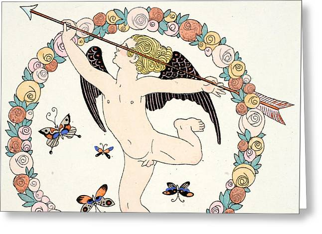 Dated Drawings Greeting Cards - Cupid Greeting Card by Georges Barbier