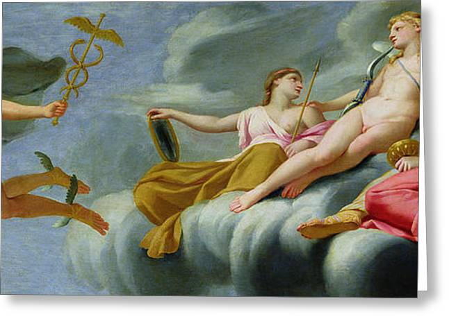 Goddess Of Love Greeting Cards - Cupid orders Mercury to announce the Power of Love to the Universe Greeting Card by Eustache Le Sueur