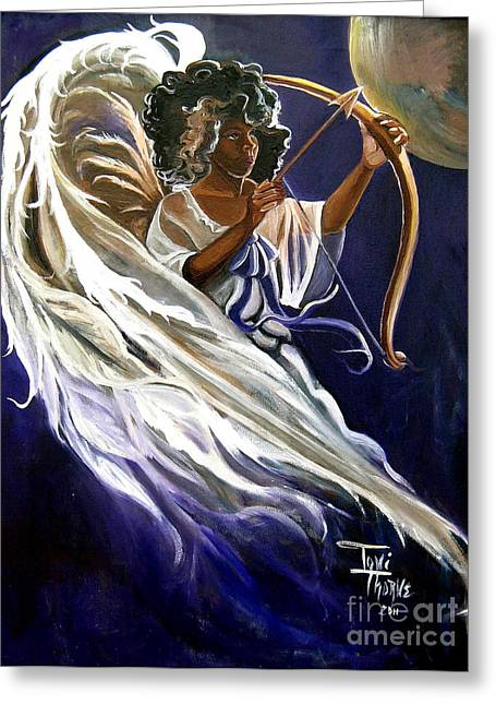 Flying Angel Greeting Cards - Cupid Greeting Card by Toni  Thorne
