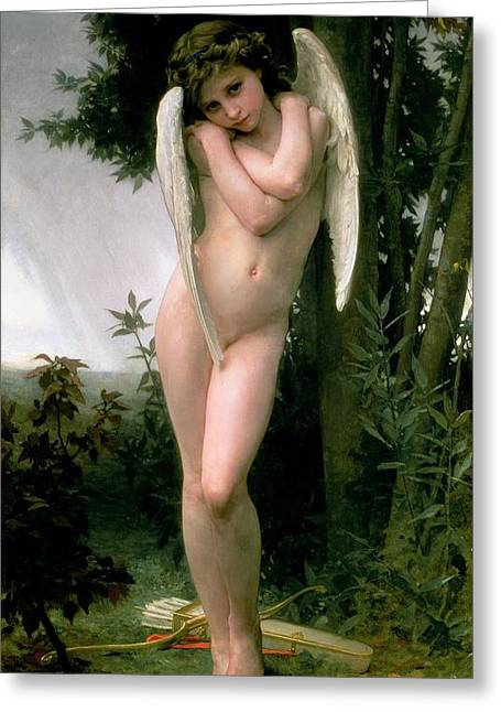 Adolphe Greeting Cards - Cupidon Greeting Card by William Adolphe Bouguereau