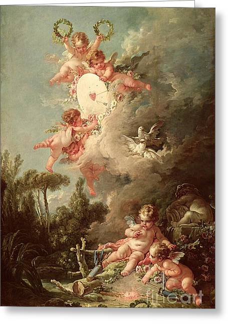 Doves Paintings Greeting Cards - Cupids Target Greeting Card by Francois Boucher