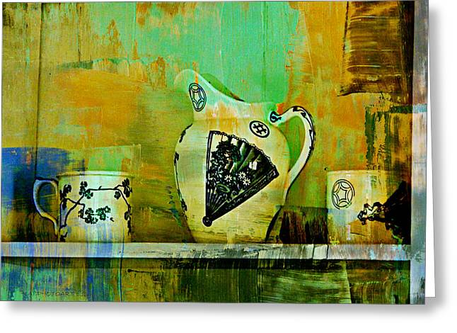 Edison Greeting Cards - Cups and Pitcher Greeting Card by Kathy Barney