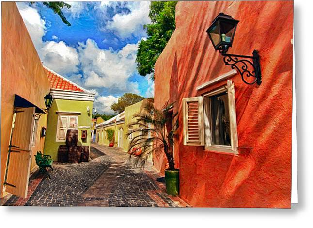 Tropical Photographs Paintings Greeting Cards - Curacao Colours Greeting Card by Nadia Sanowar