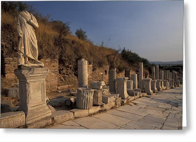 Ephesus Greeting Cards - Curates Street In Ephesus, Turkey Greeting Card by Richard Nowitz