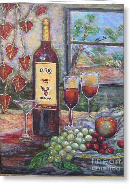 Glass Bottle Greeting Cards - Curio Wine Greeting Card by Cobie Schuchard