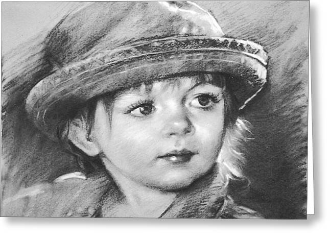 Charcoal Portrait Greeting Cards - Curios Greeting Card by Ylli Haruni