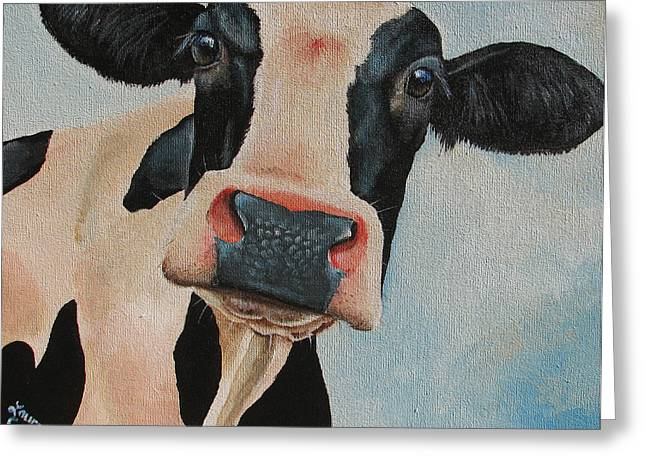 Cow Paintings Greeting Cards - Curiosity Greeting Card by Laura Carey
