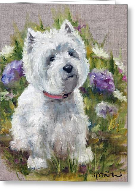 Westie Cards Greeting Cards - Curiosity Greeting Card by Mary Sparrow