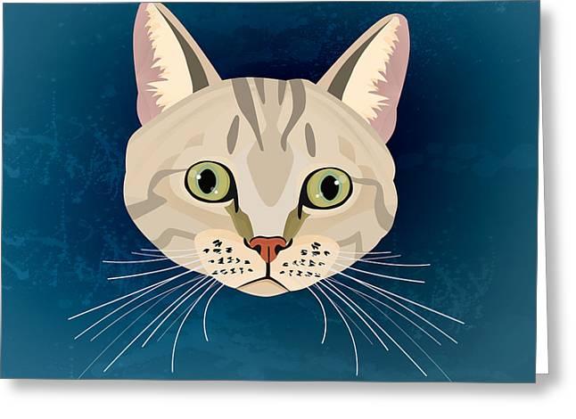 American Shorthair Greeting Cards - Tabby Cat Greeting Card by Nir Prealshtein