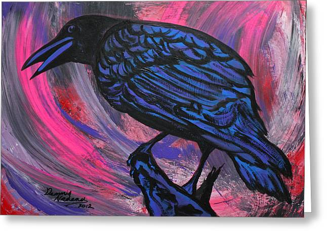 Fluttering Paintings Greeting Cards - Curious Crow  Greeting Card by Dennis Nadeau