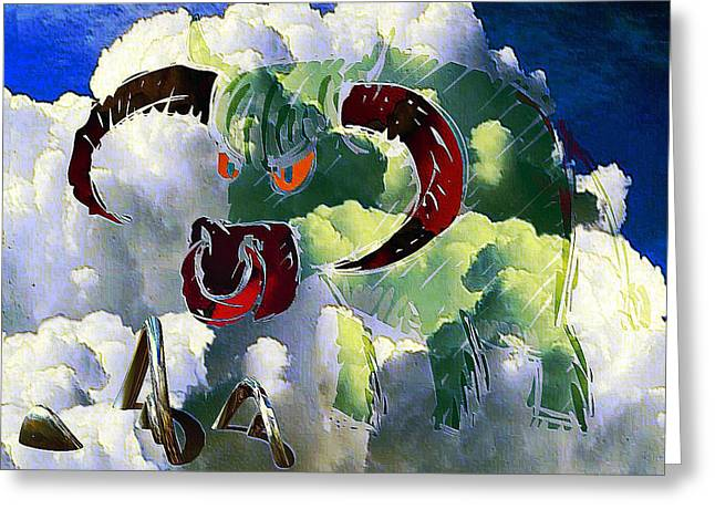Cushion Greeting Cards - Curious Green Bull in the Clouds Greeting Card by Clive Littin