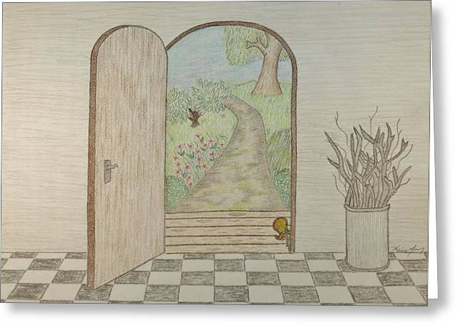 Entryway Drawings Greeting Cards - Curious Greeting Card by Karrie Zenz