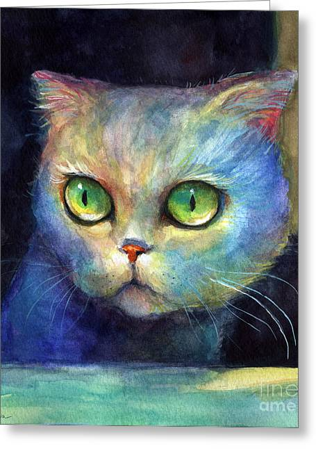 Whimsical Mixed Media Greeting Cards - Curious Kitten watercolor painting  Greeting Card by Svetlana Novikova