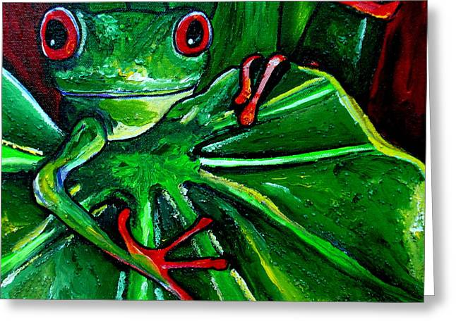 Curious Tree Frog Greeting Card by Patti Schermerhorn