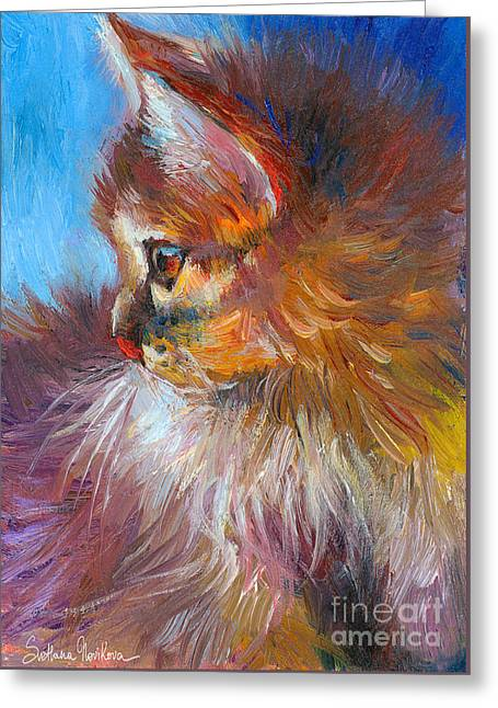 Curious Tubby Kitten Painting Greeting Card by Svetlana Novikova