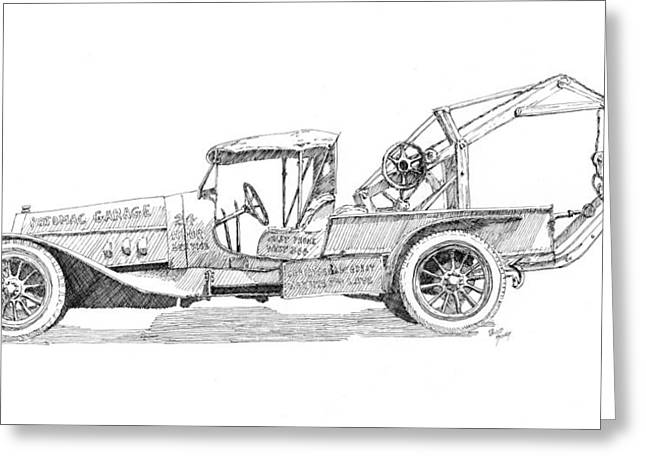 Old Trucks Drawings Greeting Cards - Curious Wrecker Greeting Card by David King