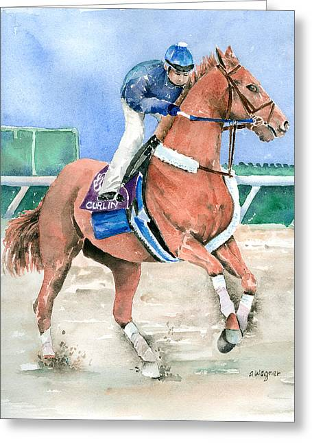 Curlin Greeting Card by Arline Wagner
