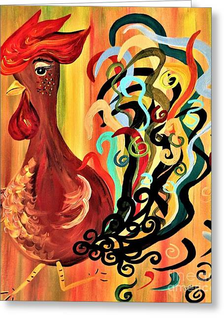Curly Rooster Greeting Card by Eloise Schneider