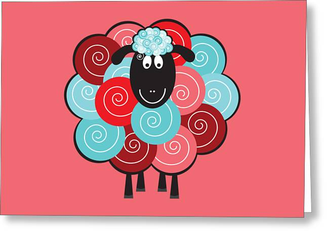 Curly The Sheep Greeting Card by Natalie Kinnear