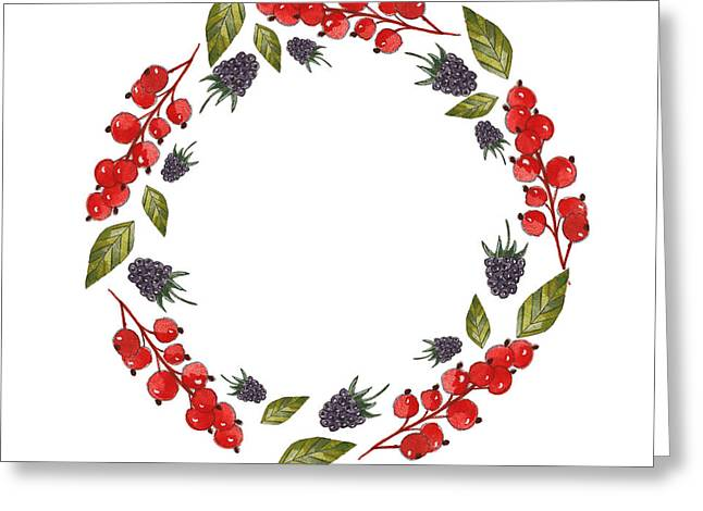 Postal Drawings Greeting Cards - Currant And Blackberry Wreath Greeting Card by Anastasia Stepanova