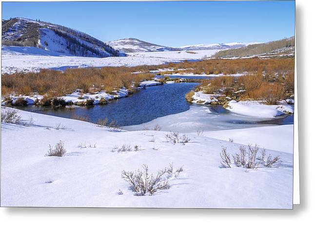 Currant Creek On Ice Greeting Card by Chad Dutson