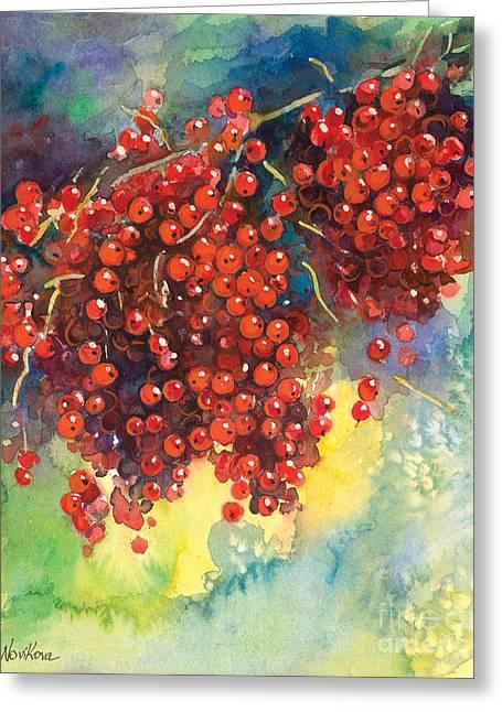 Watercolour Drawings Greeting Cards - Currants berries painting Greeting Card by Svetlana Novikova