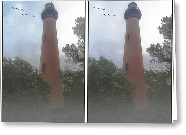 Moon Beach Greeting Cards - Currituck Beach Light Station - 3D Stereo Crossview Greeting Card by Brian Wallace