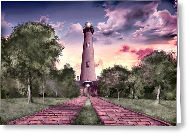 Night Scenes Greeting Cards - Currituck Beach Lighthouse 2 Greeting Card by MB Art factory