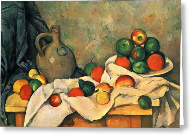 Water Jug Greeting Cards - Curtain, Jug And Fruit Greeting Card by Paul Cezanne