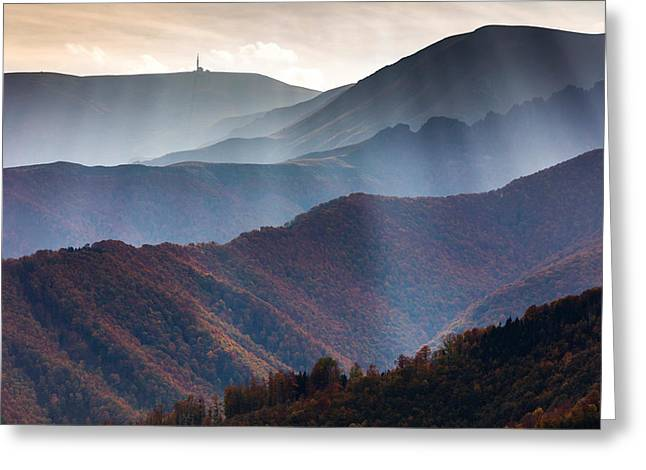 Curtain Of Light Greeting Card by Evgeni Dinev